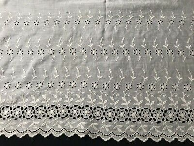 "Victorian Broderie Anglaise Fine Linen Panel 27"" x 23"" Embroidered Edging 13"" wi"