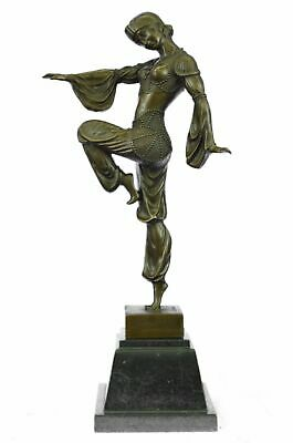 Wonderfully Detailed Signed Chiparus Pure Hotcast Deco Girl Bronze Statue Sale