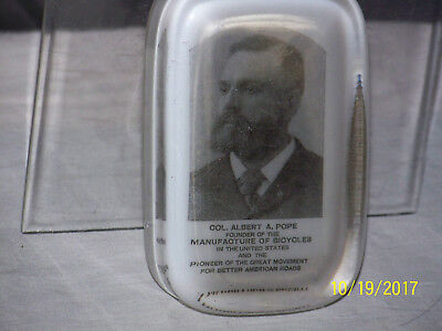 RARE-Antique c1890's Glass Paperweight Col.Al A.Pope Founder Manu.Bicycles