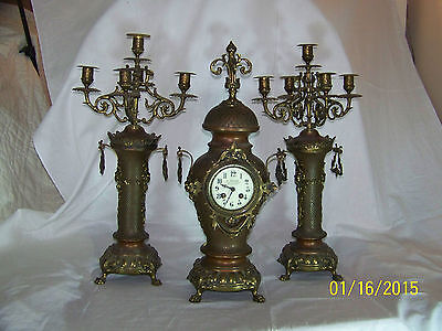 Antique c19th Century Japy Freres & Cie Beaucourt Bronze Clock & Candalabras