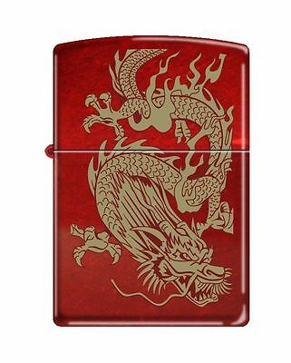 """Zippo """"Oriental Dragon"""" Candy Apple Red Finish Lighter, Pipe Insert (PL), 8894"""