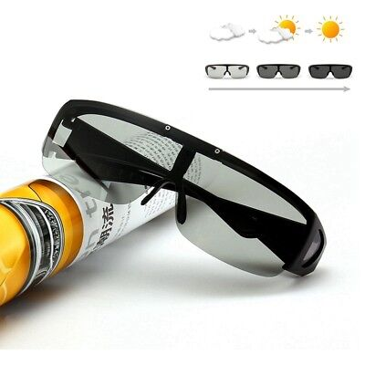 Flip Up Polarized Wrap Around Sunglasses Photochromic Glasses Transition Goggle