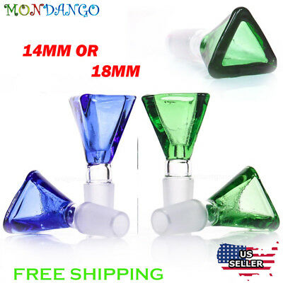 14mm 18mm Male Triangle Glass Bowl Joint Water Hookah Smoking Blue Green