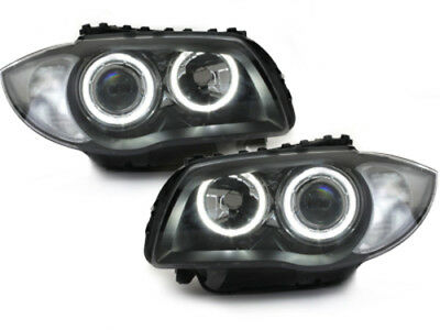 Bmw 1 series e81 E87 E88 E82 LED angel eye Headlamps Headlights BLACK Depo V2