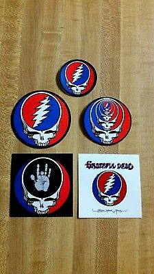 5 Grateful Dead Steal Your Face Stickers,