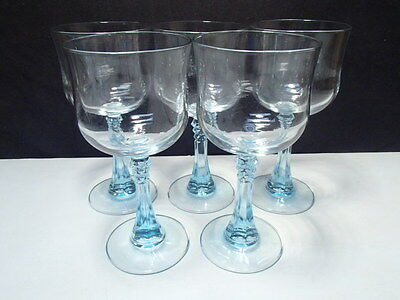 "5 Cristal D'Arques-Durand  Wine Glasses 6.5"" - Azure Light Blue Spike Stem"