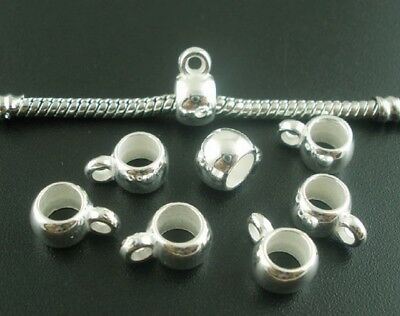 Silver Plated Acrylic Plastic European Style Bails Beads Hangers Round(B03695)