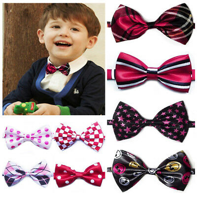 Boy Kids Children Pre Tied Stripe Lattice Party Wedding Tuxedo Bow Tie Necktie