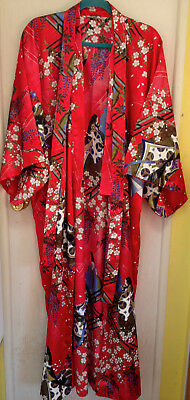 Kimono Robe Made in Japan Red Floral and Figures