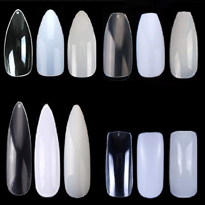 False Nails - Coffin Square Stiletto Almond Natural Clear White Short Long Tips.