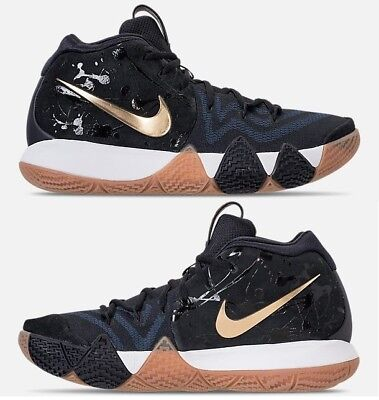 NIKE KYRIE 4 MEN s BASKETBALL BLACK - PITCH BLUE - METALLIC GOLD AUTHENTIC  NEW c584816a3