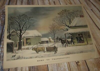 Vintage Currier & Ives Print Home To Thanksgiving