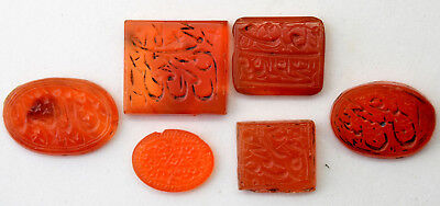 Antique Middle Eastern Hand Carved Carnelian Stones