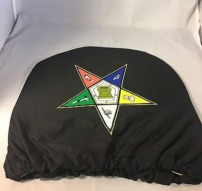 Order of the Eastern Star OES Headrest Cover- Black- Set of 2-New!