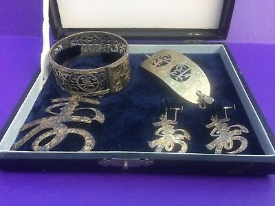 Historical Antique Japanese Sterling Silver Jewelry Set~1944 ~Yamato & Co.