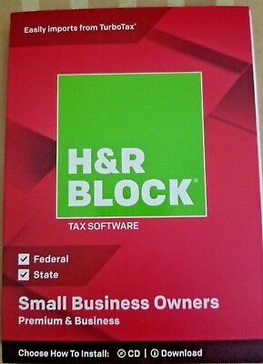 H&R Block Tax Software Premium & Business 2018 -Small Business Owners FREE SHIP