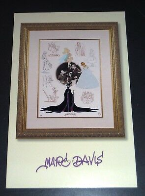 Marc Davis Cinderella Walt Disney Promo Animation Card w/Maleficent & Tinkerbell