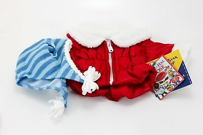 Build A Bear Holly Moose Coat & Hat Winter Red Blue RETIRED NWT Holiday