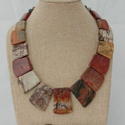 natural Red Creek Jasper trapezoidNecklace