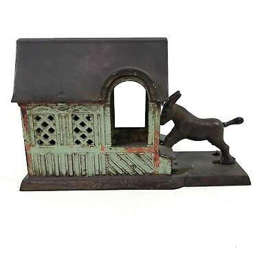 1880 Antique Mechanical Cast Iron Bank Donkey Mule Entering Barn