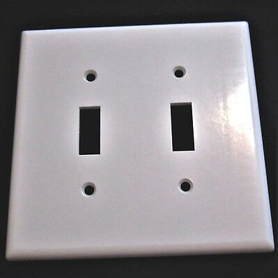 Vintage Bakelite Leviton Light Switch Plate Cover Double Toggle White