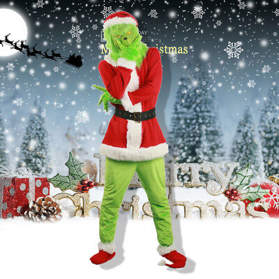 US Santa Grinch Cosplay Costume How the Grinch Stole Christmas Helmet Adult Suit