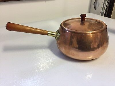 Vintage Copper Sauce Pan / Pot With Lid Wooden Handle Od1 Made Korea Cook Chef