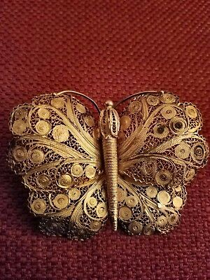 Filigree gold plated Butterfly pin brooch (vintage)