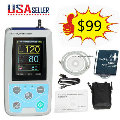 Ambulatory Blood Pressure Monitor 24h NIBP Holter ABPM50 Adult Cuff Software FDA