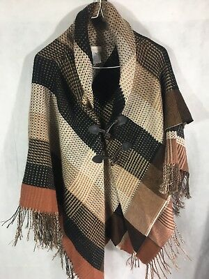 Shall Or Poncho Fringe Plaid Winter Cold Snow One Size