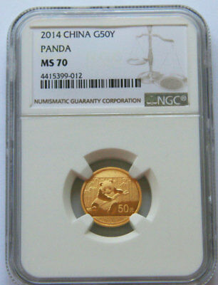2014 panda 1/10oz gold coin G50Y NGC MS70