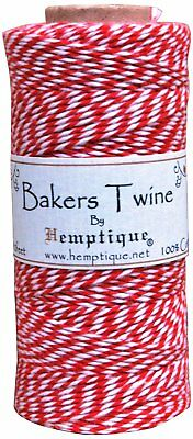 Hemptique 4 ply 1mm Red and White Cotton Bakers Twine - 1 spool