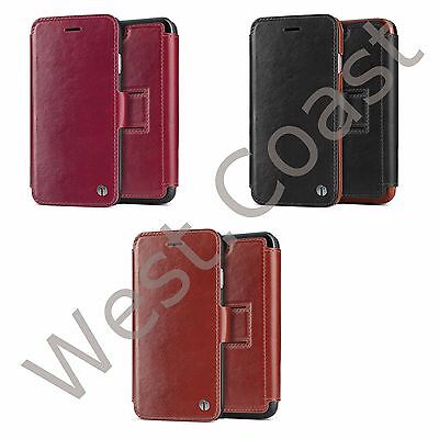 1byone Genuine Leather Wallet Stand Folio Case with Card Slot for iPhone 6 / 6s