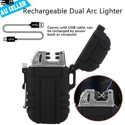 Dual Arc Electric Lighter Rechargeable Plasma Windproof Flameless Cigarette USB