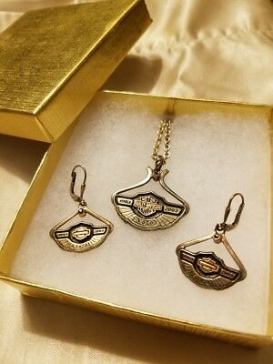 Harley Davidson Rare 100th Anniversary Sterling Silver Necklace/ Earrings