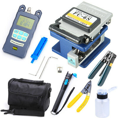 10 in 1 Fiber Optic FTTH Tool Kit with fc-6s Fiber Cleaver and Optical Powe DHL