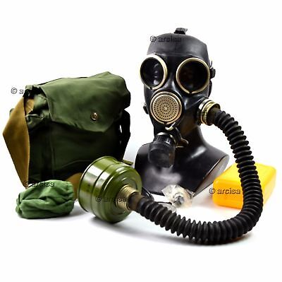 Soviet russian gas mask GP-7V full set + black rubber hose NEW  Size Small