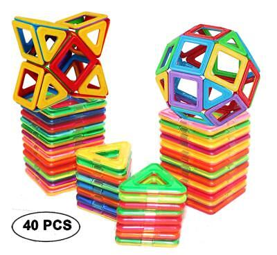 Magnetic Tiles Building Blocks Toys 40 PCS Education Toy Building Block For Kids