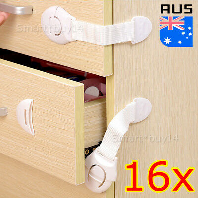 16pcs Kids Child Baby Safety Lock LATCH Door Fridge Cupboard Cabinet Drawer AU
