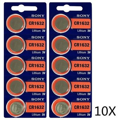 10Pcs Sony Cr1632 Lithium 3V Battery Cr 1632 Exp 2028 Genuine