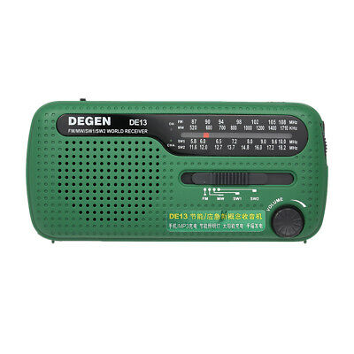DEGEN DE13 FM MW SW Dynamo Solar Crank Emergency Radio World Band Receiver Q8E7