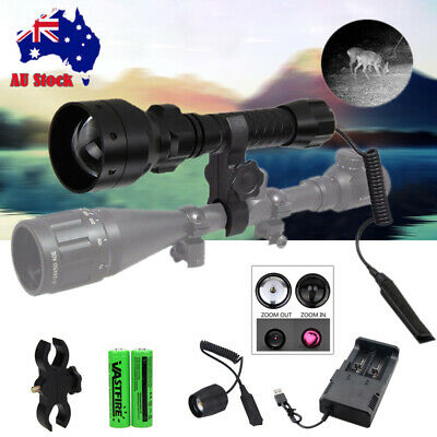 T50mm Infrared IR 850nm LED Zoomable Hunting Light Night Vision Torch 18650 Lamp
