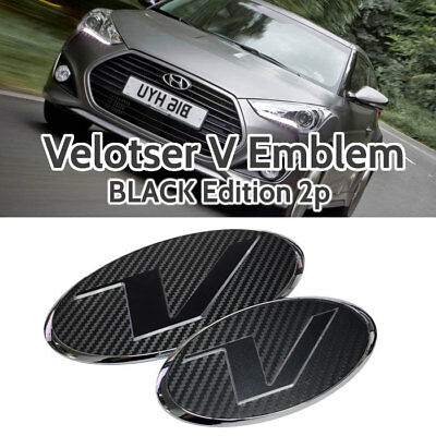 V Emblem Black Style Front Grille + Rear Trunk for HYUNDAI 11-17 Veloster Turbo