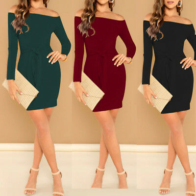 US Women Long Sleeve Off Shoulder Evening Cocktail Party Club Bodycon Mini Dress