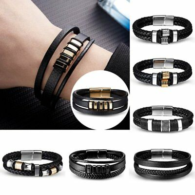 Surfer Leather Bracelet Wristband Magnetic Wrap Stainless Steel Black Mens Urban