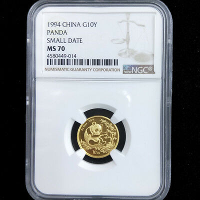 1994 China panda small date 1/10oz gold coin G10Y NGC MS70