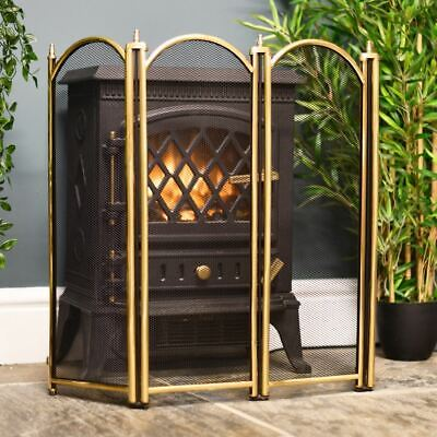 Dynasty Four Fold Fire Screen in Polished Brass