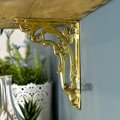 "Ornate ""Victorian Amalina"" scroll brackets in polished brass"
