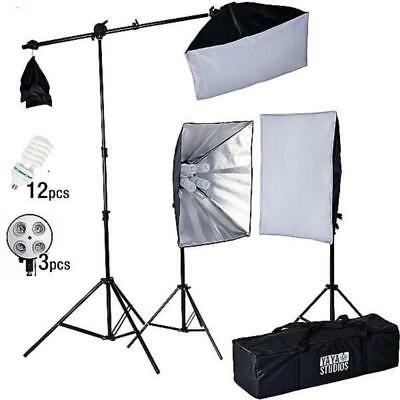 2400 Watt Softbox Continuous Lighting Kit With Boom Arm Hairlight Softbox