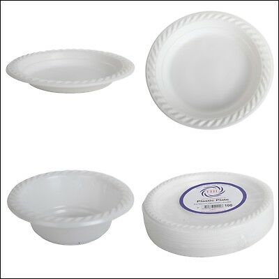 Plastic White Disposable Plates and Bowl Dishes Pack of 100 Christmas Party dish